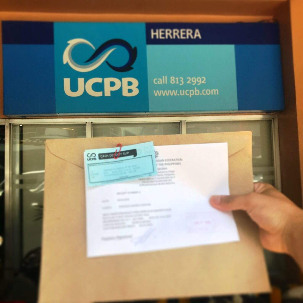 Paying Russian Visa fee at UCBP Herrera Branch