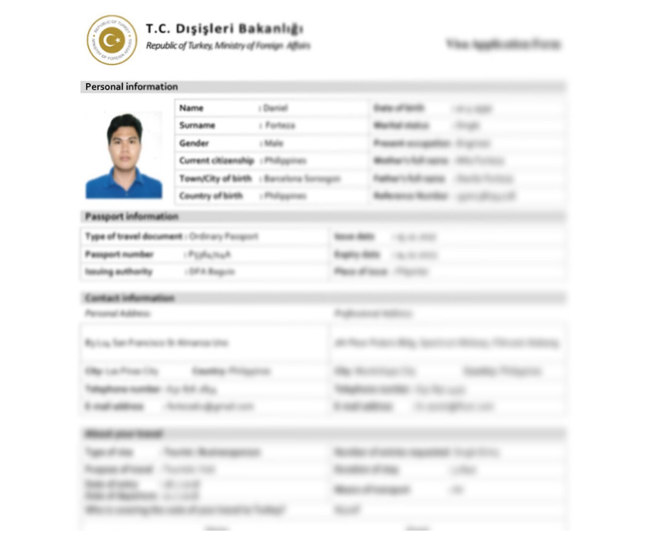 My Turkish tourist visa application form