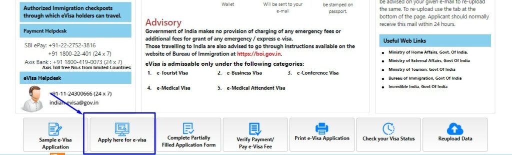 Indian e visa page updated website