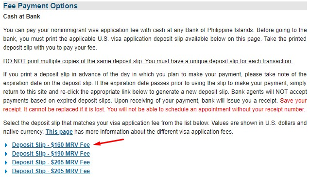 US Tourist Visa Bank Option Payment