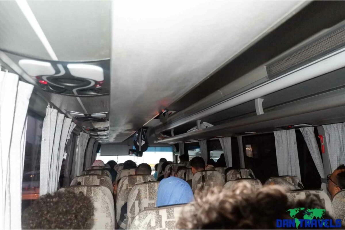Inside the tour bus going to Bursa Turkey Itinerary