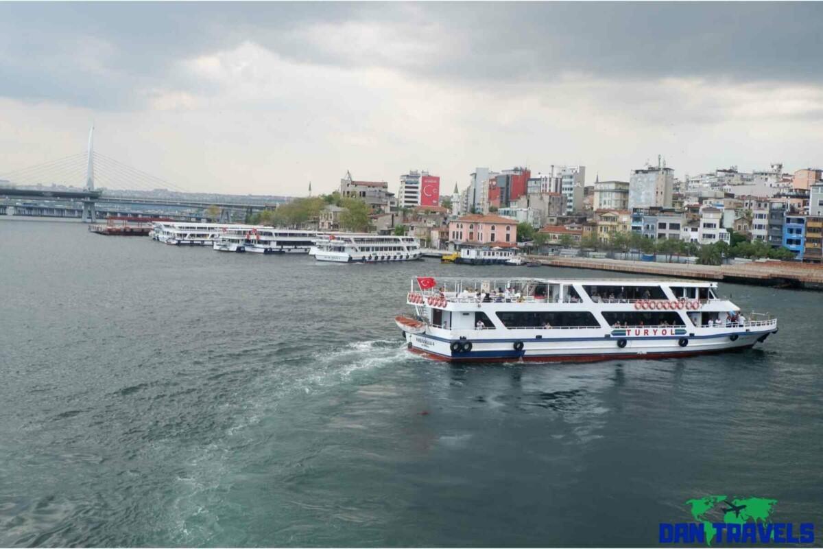 Ferry at Galata Bridge Turkey itinerary