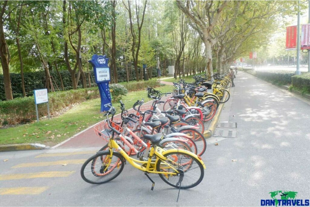 Bikes for rent parked in the streets of Shanghai | Shanghai Itinerary