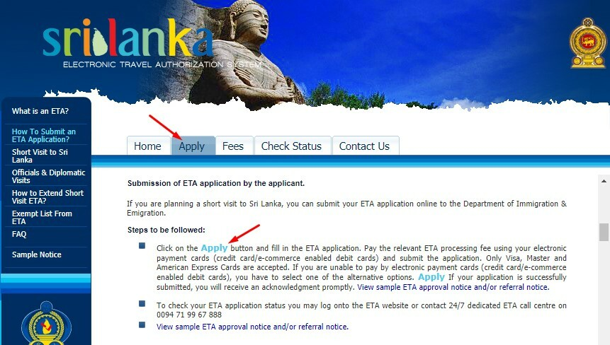 From Sri Lanka e-visa website | Dantravels.org