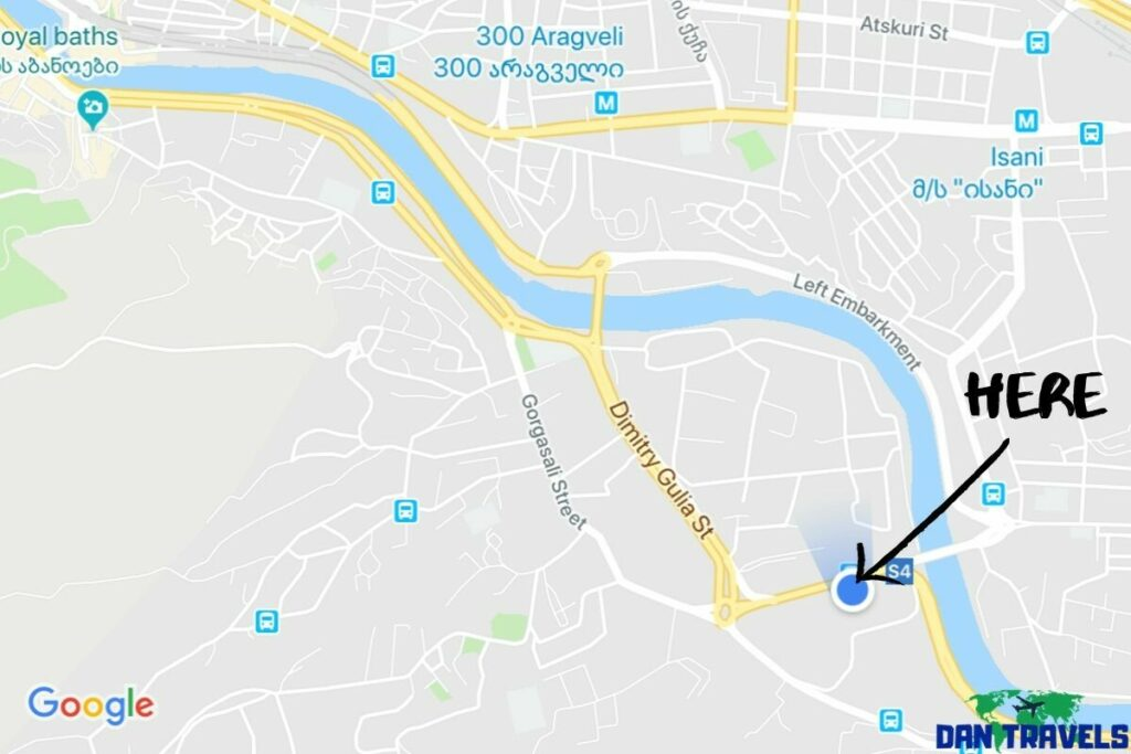 Location of Ortachala central bus station in Tbilisi