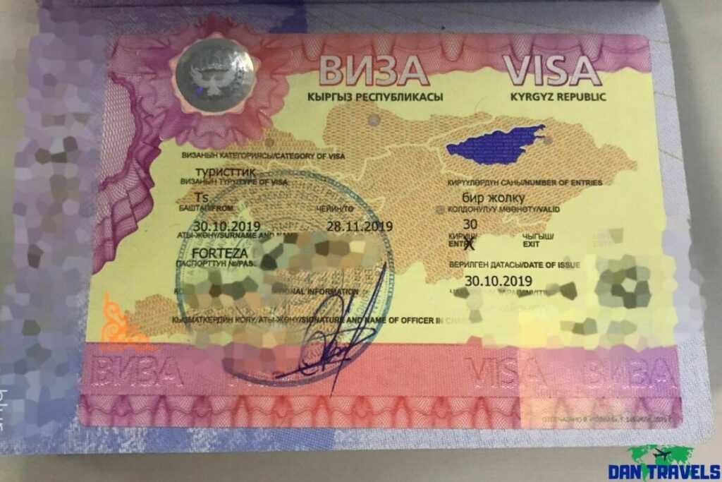 My Kyrgyztan visa sticker on my Philippine passport