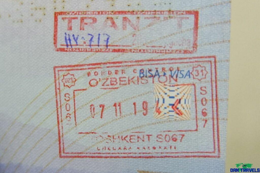 Uzbekistan passport stamp transit visa