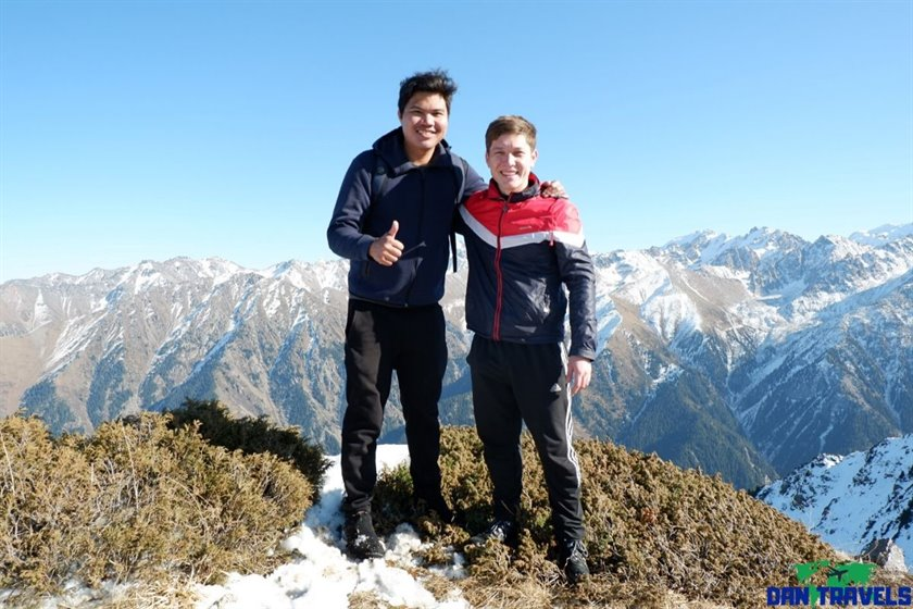 Nurseit and I at the summit of Mt. Boukreev | Dantravels.org