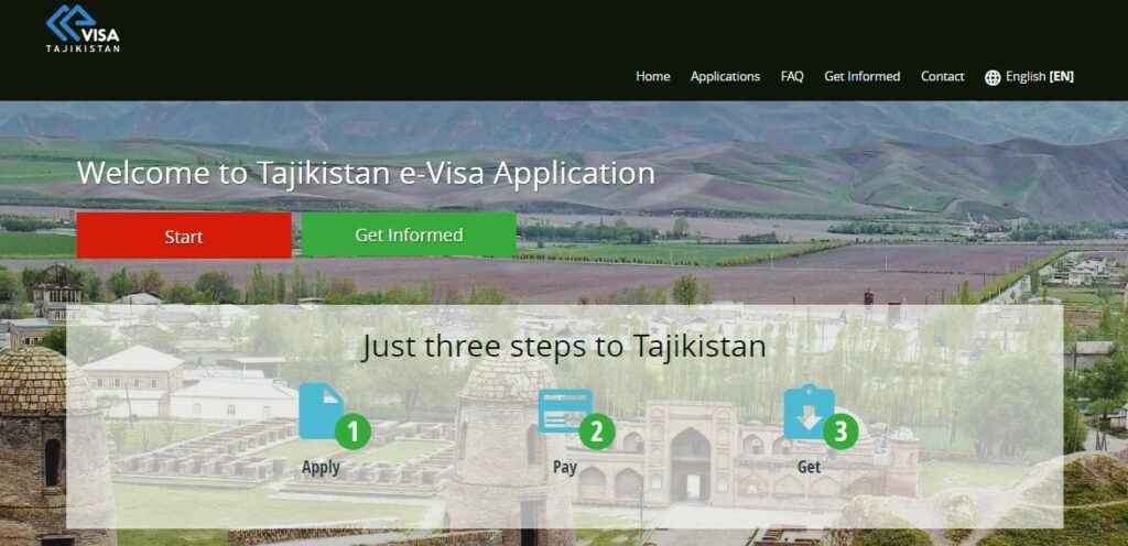 Takikistan eVisa website