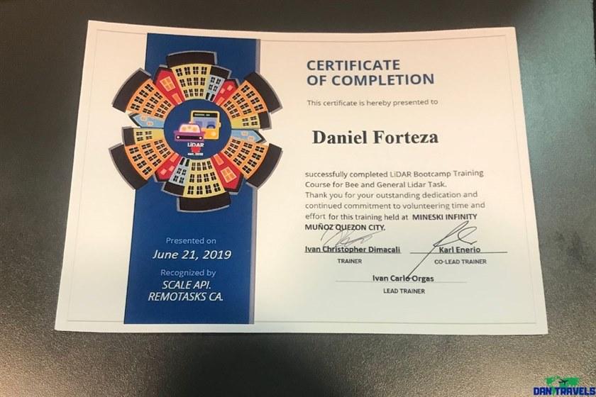 Lidar Remotask training certificate