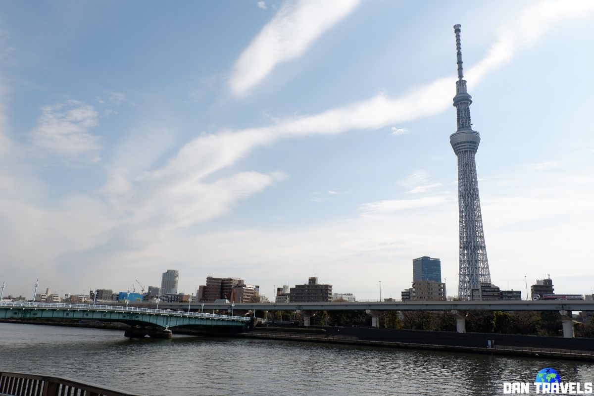 Day 1: Tokyo Skytree viewed from Sumida Park with the Kototoi Bridge | Dantravels.org