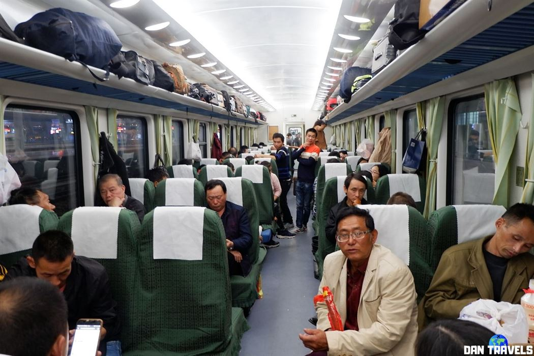 Day 2: This is the 'hard seat' class of the train going to Zhangjiajie from Shanghai where I spent most of my 2nd day in China.