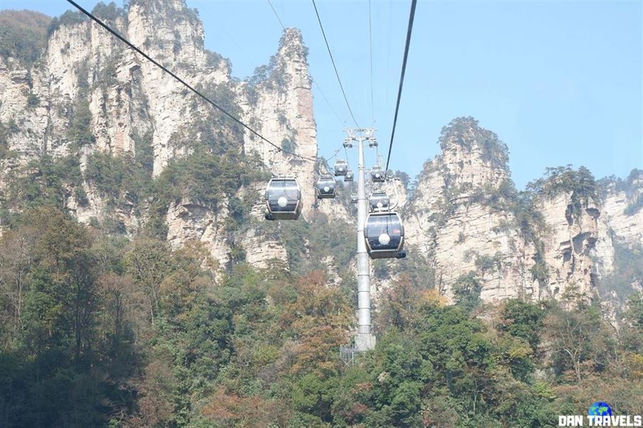 Day 3: The cable car ride to the Tianzi Mountain peak.