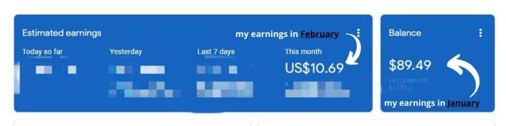 My Google Adsense earning January vs February 2020 due to coronavirus