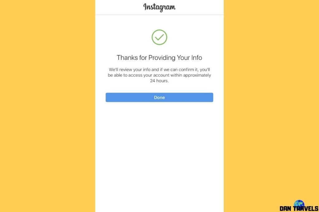 Instagram saying thank you for providing your info